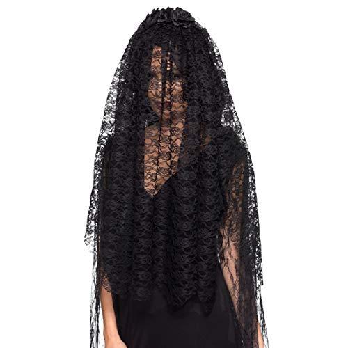 Amakando Dunkler Witwen-Schleier Giftmischerin / Schwarz / Kopfbedeckung Black Widow / Perfekt geeignet zu Gruselparty & Karneval (Verkleidung Schwarze Witwe Kostüm)