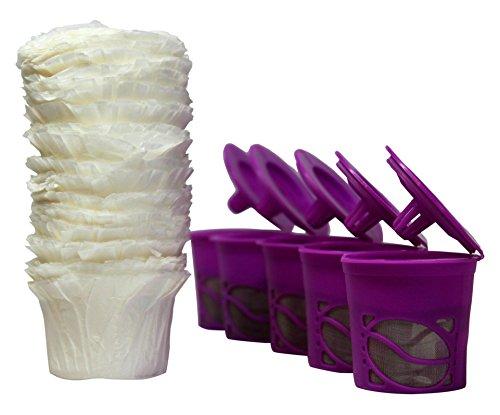 R'stoyours K Cup Wiederverwendbare und nachfüllbare Kaffeefilter für Keurig 2.0, K200, K250, K300, K350, K400, K450, K460, K500, K550, K560 und 1.0 Brauer und 100 Einweg-Papierfilter - Keurig Filter Karaffe
