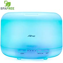 Diffusore di Aromi Aiho 500ml Umidificatore Ultrasonic Aromaterapia di Oli Essenziali con LED 7 Colori Purifucatore d'aria Perfetto per Ufficio Yoga Spa Soggiorno Stanza per Bambini
