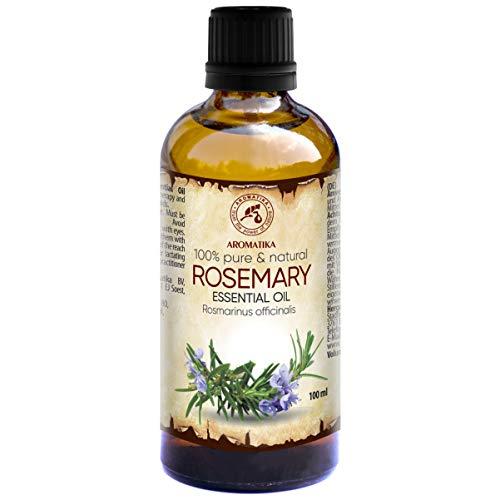 Rosmarinöl 100ml - Rosmarinus Officinalis - Spanien - 100% Naturreines Ätherisches Rosmarin Öl - Reine & Natürliche Rosemary - Guten für Aromatherapie - Duft Diffuser - Duftlampe