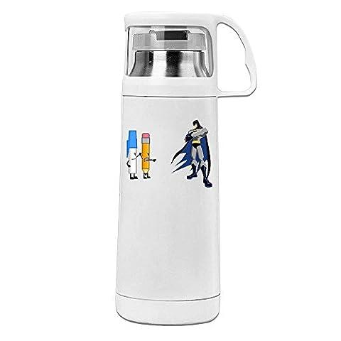 Handson Edelstahl Vakuum Isoliert Tumbler Bleistift VS Bat Hero Thermo Wasser Flasche Weiß 14oz/350ml