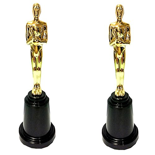 2 Statuette in Plastica Dorata CM 15 Premio Cinema