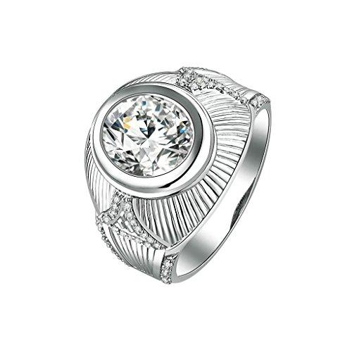 Daesar Silberring Herren Ring Silber Trauring Benutzerdefinierte Ring Breite Runde Strass Ring Größe:63 (Kostüme Partys Für Benutzerdefinierte)