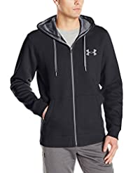 Under Armour Rival Fitted Full Zip Felpa, Uomo, Nero, L