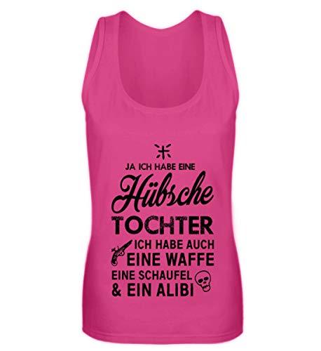 Shirtee EINE HÜBSCHE Tochter EINE Waffe EINE Schaufel & Alibi - Frauen Tanktop -L-Pinky