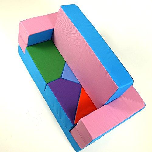*barabike Spielsofa 4in1 Kindersofa KG01B Spielmatraze für Das Kinderzimmer Spielpolster Softsofa rosa/hellblau Puzzle Kinderzimmersofa Spieltisch Kindermöbel*