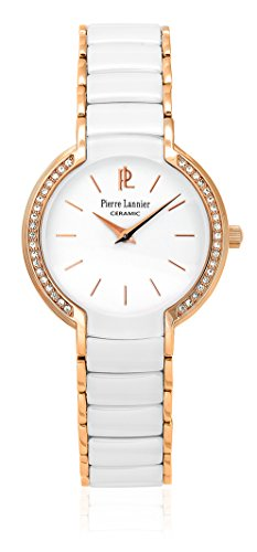 Pierre Lannier–021h900–Elégance cerámica–Reloj Mujer–Cuarzo Analógico–Reloj color blanco–pulsera cerámica blanco