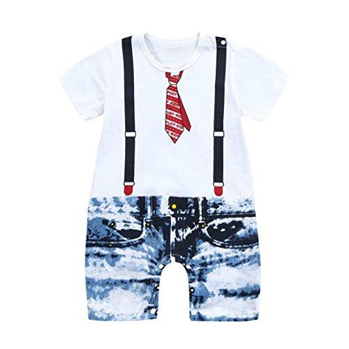 Tefamore Kleinkind Baby Boys Krawatte Overalls Jeans Floral Print Kurzarm Spielanzug Overall Weiß (2 Jahr) (Floral Denim Overall)