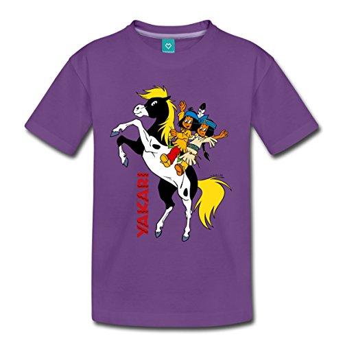 Spreadshirt Yakari Und Regenbogen Auf Pferd Kleiner Donner Kinder Premium T-Shirt, 110/116 (4 Jahre), Lila (Einheitliche T-shirt Lila)