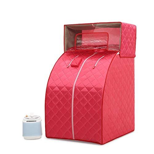 SUN HUIJIE Tragbare Dampfsauna, zu Hause Ganzkörper Einer Person Spa Zelt, 2L-Dampfer mit Fernbedienung, umweltfreundlicher Innen Weight Loss Detox-Therapie (Color : Red)