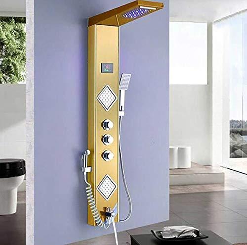 Shower System LED-Licht Goldene Dusche Wasserhahn Digitale Temperatur Bildschirm Dusche Panel SPA Massage Jet Dusche Säule Turm mit Sprühdüse,B -