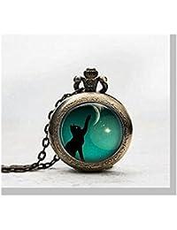 Reloj de bolsillo con colgante de gato negro, con diseño de gato negro y collar, reloj de bolsillo con diseño de gato negro y cristal, color negro