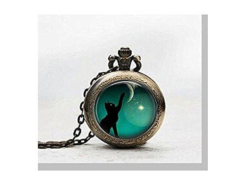 Schwarz Katze Anhänger Taschenuhr, black cat print Halskette Pocket Watch Charm, Black Cat Print Anhänger Taschenuhr Glass Tile Schmuck, Glas schwarz Katze Taschenuhr -