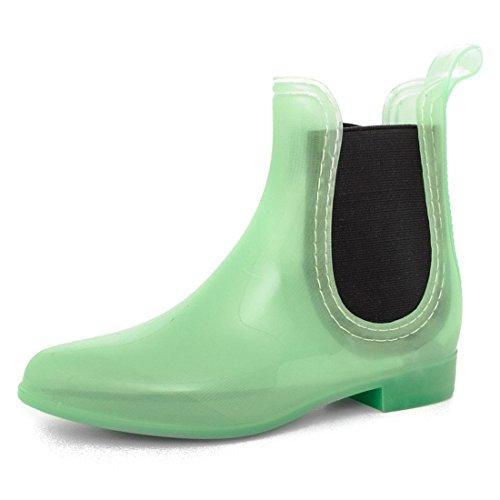 178be1e0c21d4 Damen Schlupf Gummistiefel Chelsea Boots Lack Stiefeletten Modell 4   Blaugrün