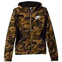 Nike B NSW Club Fleece FZ AOP Chaqueta, Niños, Verde (Olive Flak/Black/White), S