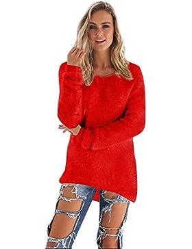 Camisa Larga Para Mujer Jersey Vestido Oversize Con Cuello Redondo Jumper Pulóver Blusa