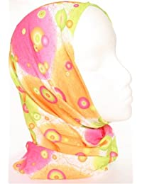 TC-Accessories Pink Orange Lime Green FUZZY circles 12 in 1 snood tube scarf Multifunctional Headwear
