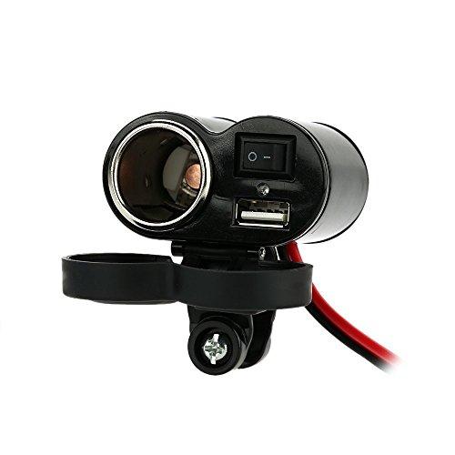 KKMOON 5V / 1.5A-USB-Buchse mit blauer LED-Anzeige + Zigarettenanzünder-Steckdose mit ein-/aus-Schalter 12V Auto Modifikation DIY Zubehör für Motorrad Roller ATV