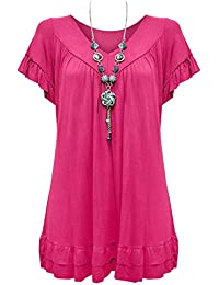 0f731d5b0b3a Urban Diva Vanilla Inc Womens Ladies Plus Size Frill Necklace Gypsy Ladies  Tunic Short Sleeve Long V Neck Tops (12…