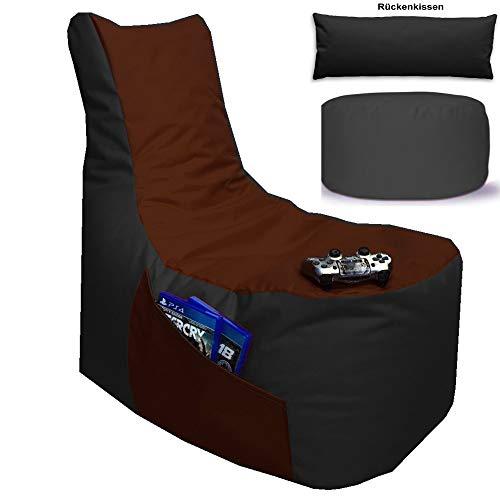 Sitzsack 3er Set Big Gamer Sessel mit EPS Sytropor Füllung - Rückenkissen - Hocker Sitzsäcke Sessel Kissen Sofa Sitzkissen Bodenkissen (Big Gamer Sitzsack 3er Set 2-farbig, Schwarz - Braun)