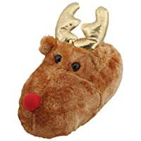 SlumberzzZ Kids Plush Novelty 3D Christmas Rudolph Slippers