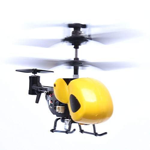 Pinjeer RC Mini Helicopter Radio Remote Control Micro 3.5 Canal Toy Gift Outdoor Toys Machine Drop Shipping Educational Birthday Gifts for Children 8 + (Color: Yellow)