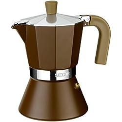 Monix Cream – Cafetera Italiana de aluminio, capacidad 12 tazas, apta para todo tipo de cocinas, incluida inducción