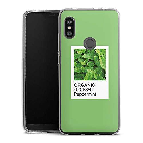 DeinDesign Silikon Hülle kompatibel mit Xiaomi Note 6 Pro Case Schutzhülle Mint Pfefferminz Organisch - Pfefferminz-noten