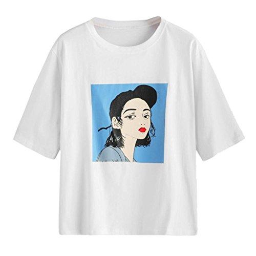 Dreamkon Super Süß Einfache Frauen Basic Top 4 Styles Einfacher Joker Weißes T-Shirt Kurzes Mädchen Sieht Jugendlich und Jugendlich Aus (Weiße, XL)