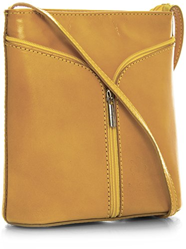 Big Handbag Shop Borsetta piccola a tracolla, vera pelle italiana Yellow