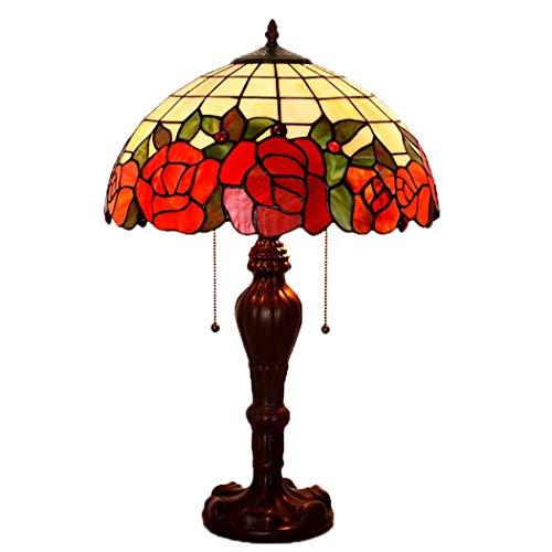 DSHBB Tiffany Style Table Lampe, romantisch, rote Rose gestette Glastische Lichter, Retro Living Room, Schlafzimmer Dekoration Nacht Licht 40W -
