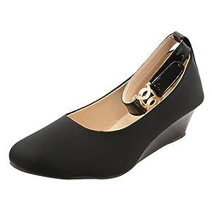 Babes Women's Black Designer Fashionable Lycra Platform Bellies with Dutch Heel