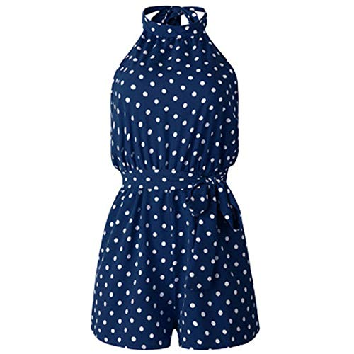 FJJBHSD Jumpsuits 2019 Sommermode Print Polka Dot Pocket Lace weiblichen Overall blau S -