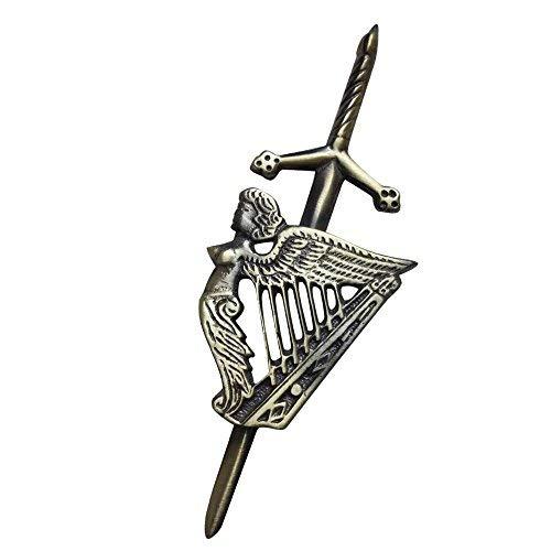 """Highland Kilt Herren Schottischer Kilt Pin Irisch Harfe Antike Ausführung 4"""" Pins Keltische Harfe Hochland"""