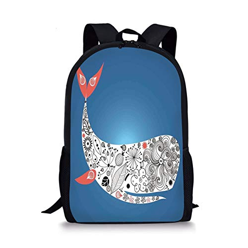 School Bags Whale Decor,Huge Smiling Decoraive Ornamental Whale with Floral Designs on it Artwork,Multi Colored for Boys&Girls Mens Sport Daypack (Rolling Rucksack Floral)