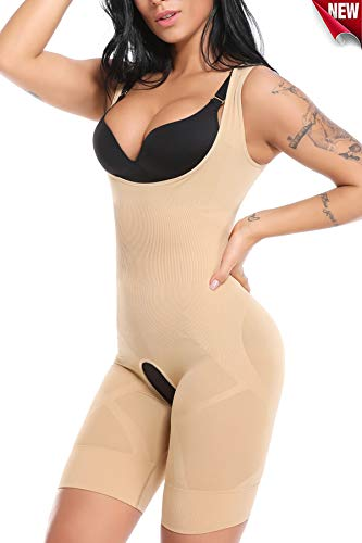 MISS MOLY Open Busto Shapewear Stomach Cosce Slimmer Body Firm Control Briefer-Wear Own Bra Nude L&XL