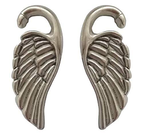 Pesos de oreja de pareja plateados plata para lóbulos estirados - Dos pendientes dilataciones orejas en forma de Alas - Earrings Plugs 'WINGS' - Modelo original por artesano italiano - h 6,3 cm