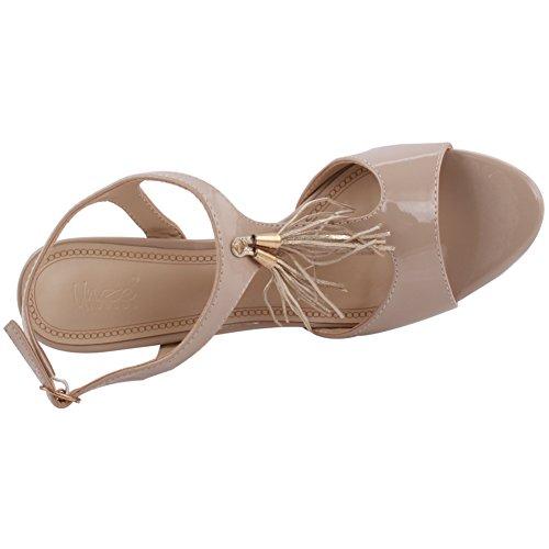 Unze Frauen 'Iris' Fringe Detail Mid Low High Heel Party Prom Zusammen Karneval Abend Sandalen Schuhe UK Größe 3-8 - 8T8555-56 Beige