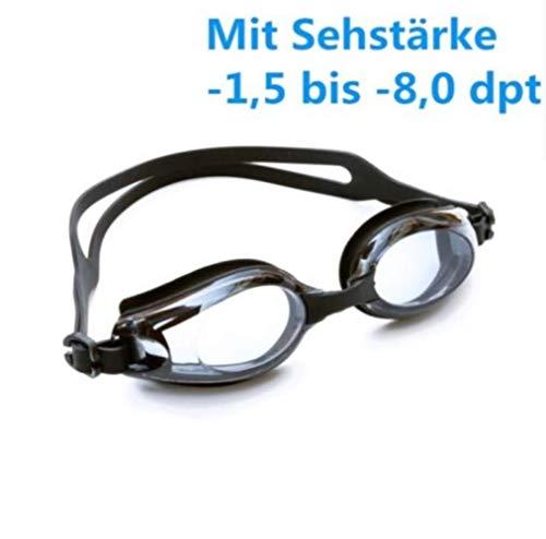 Keepmoving Anti-Beschlag Wasserdicht Optische Schwimmbrille Kurzsichtig mit Sehstärke -1,5 bis -8,0 dpt (Schwarz, -3,5)