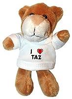 León de peluche (llavero) con Amo Taz en la camiseta (nombre de pila/apellido/apodo) de SHOPZEUS