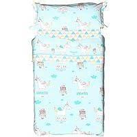 Burrito Blanco - Juego de sábanas 158 Turquesa para cama de 90x190/200 cm