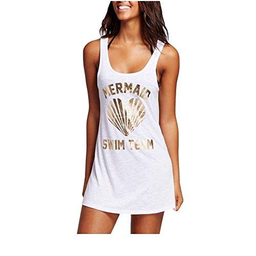 Unbekannt HBA Women's Beach Kausale T-Shirt Briefe Drucken Runder Ausschnitt Achsel-Hemd Strand Kleid 0420025