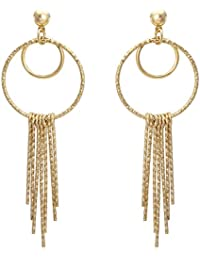 Spargz New Fashion Party Gold Plated Round Chain Linked Long Dangle Earrings For Women AIER 690