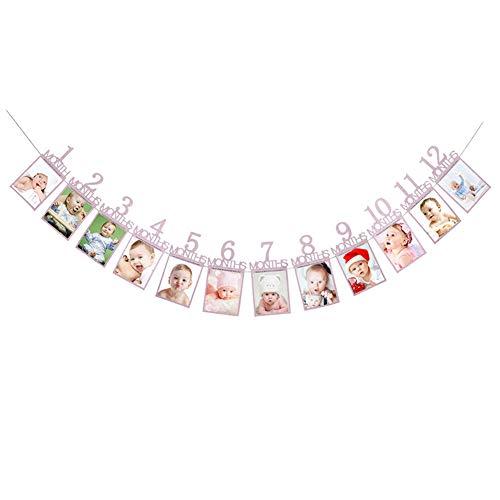 1. Geburtstags-Foto-Rahmen 1-12 Monate des Babys Photo Frame Shower Baby Fotohalter Für Kinder Geburtstags-Geschenk Zimmerschmuck