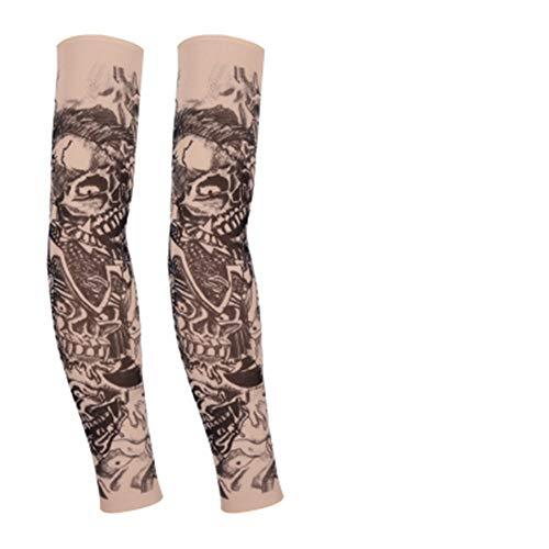 JinRui-Sport Tattoo Sleeve Tattoo Ärmel männlich Blume Arm Nahtlose Tattoo Ärmel treibende Sonne Ärmel, L, DREI Gesichter 2 Packungen