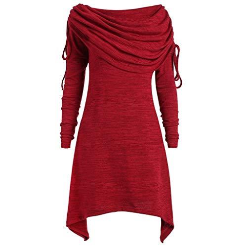 39724753a487 Donna Maglione Maglia Maniche Lunghe Natale Vestito Elegante Sezione Lunga  Casual Moda Cappotto Collo A Pieghe