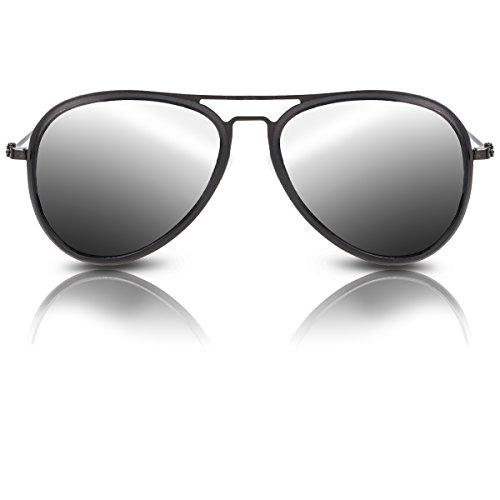 Pilotenbrille für Herren und Damen mit UV 400 Schutz Sonnenbrille im Qualitäts-Design (Schwart-Grau)