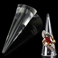 Acrylic Transparent Clear Cone Shape Jewelry Ring Display Holder Stand 4Q