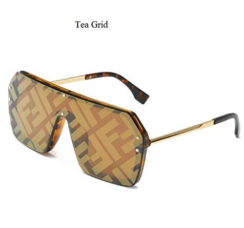 Sonnenbrille,Vintage Visor Maske Sonnenbrille Frauen Männer Übergroße Winddicht Brille Frame Brille Sonnenbrille Tee Raster