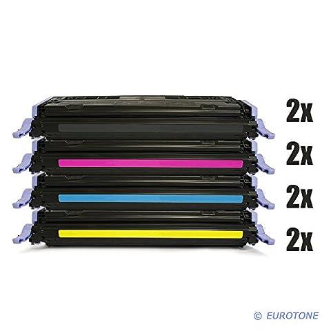 8x Eurotone Remanufactured Toner Cartouche pour HP Color LaserJet 1600 2600 2605 DN N DTN remplace Q6000A-03A 124A